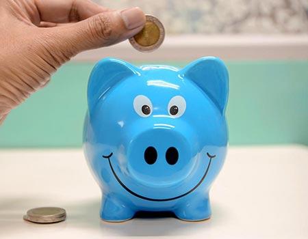 Money is put into a piggy bank.