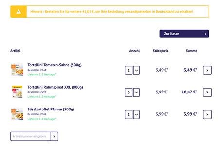 Screenshot des Warenkorbs mit drei verschiedenen Produkten.