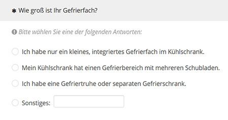 Screenshot aus der Rekrutierungsumfrage zur Größe des Tiefkühlfachs.