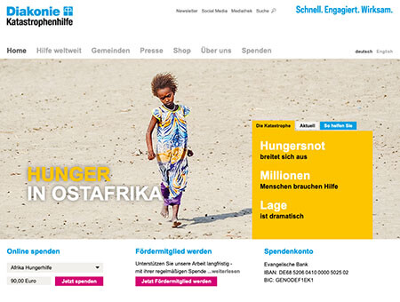 Previous website of Diakonie Katastrophenhilfe