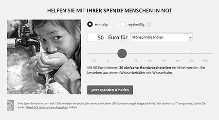 Im Spendenslider werden Beispiele für die Verwendung des Betrags angezeigt.