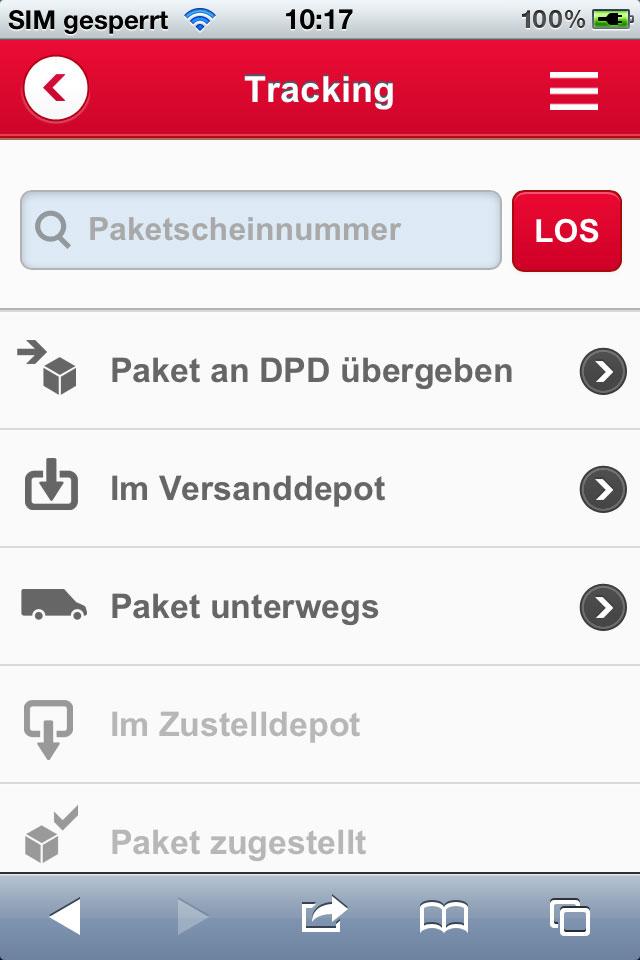 DPD Web App Paketlebenslauf