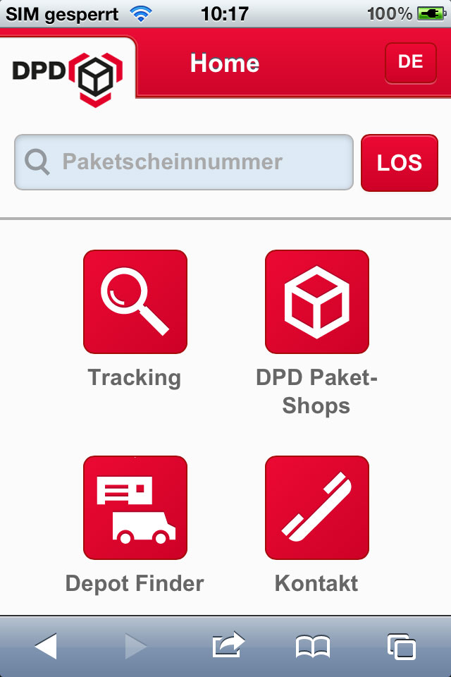 DPD Web App Home Screen