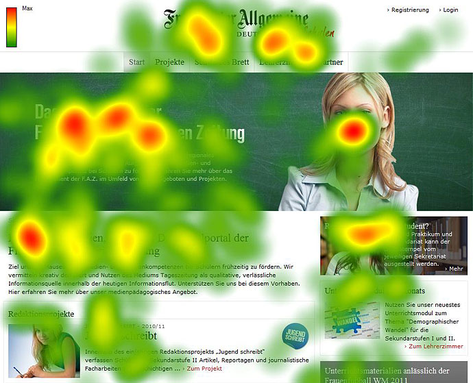 Eye Tracking auf der Startseite des Schulportals FAZSCHULE.NET