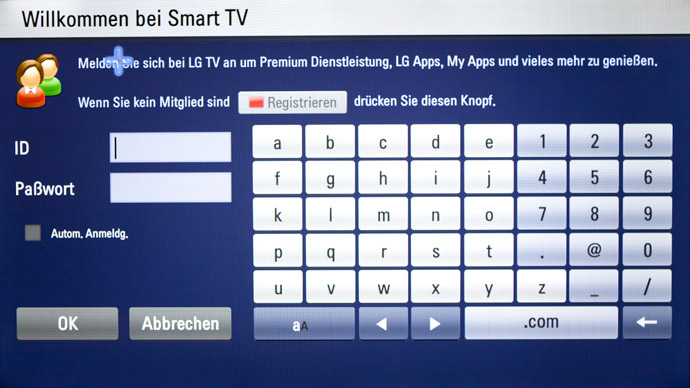 Smart TV Oberfläche: Der Login-Screen