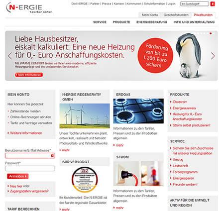 Die alte Startseite der N-ERGIE-Website