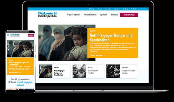 Website der Diakonie Katastrophenhilfe auf einem PC und einem Smartphone.