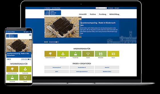 Website der Leibniz Universität Hannover auf einem PC und einem Smartphone.