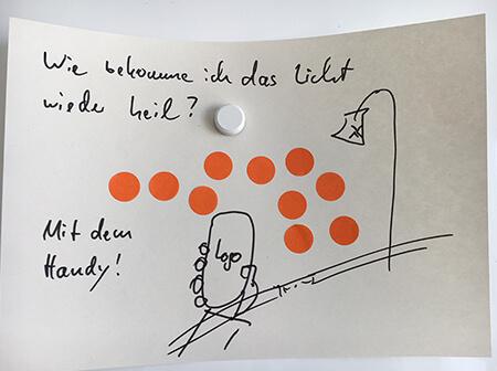 Prototyp einer Werbepostkarte mit Dot-Voting