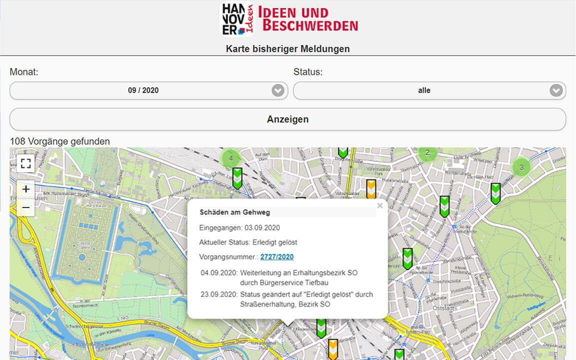 Visualisierung des Ablaufs und Status einer Beschwerde auf hannover.de