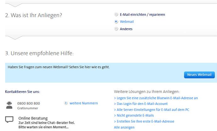 Hinweis auf den Support auf der Swisscom Website.