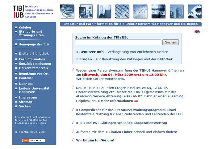Die Website der TIB/UB vor dem Relaunch