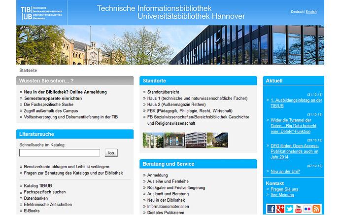 Website der TIB/UB nach dem Relaunch