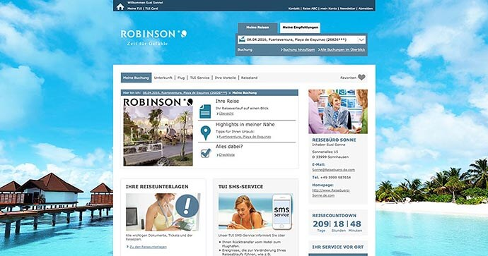 The travel portal Meine TUI: Overview of a booked holiday