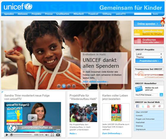 Die UNICEF Website vor der Optimierung