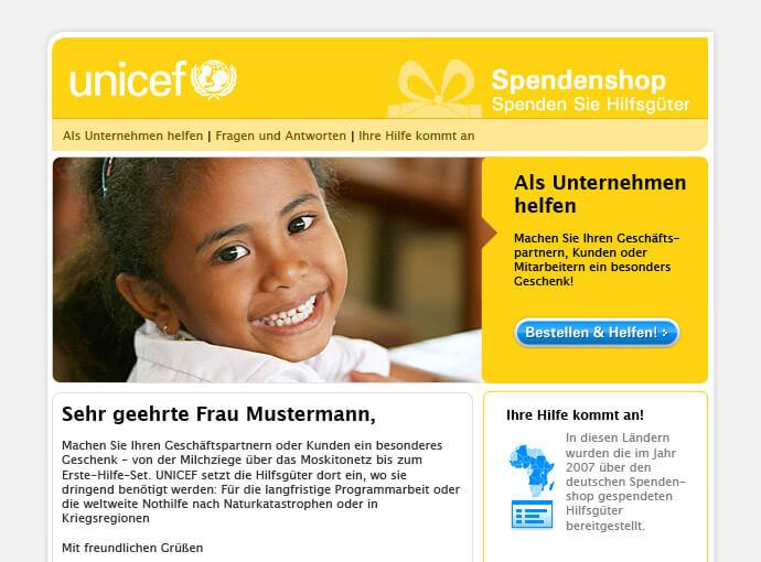 UNICEF Newsletter vor der Analyse durch usability.de