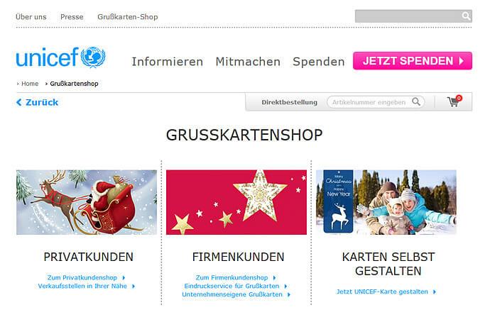 Der optimierte UNICEF Grußkartenshop