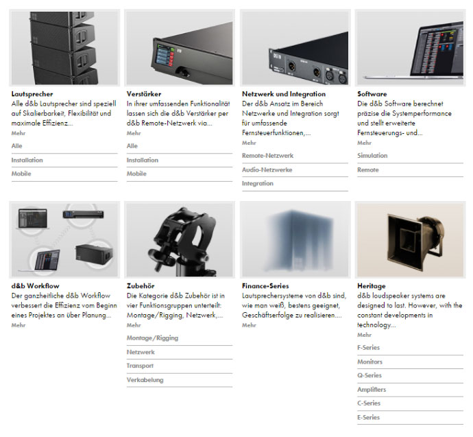 Information zu verschiedenen Produktkategorien