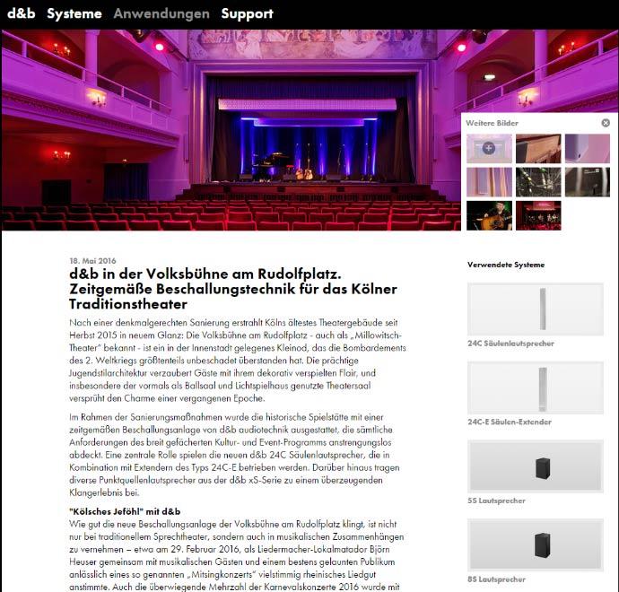 Die Website bietet u. a. Beispiele für Anwendungen der Produkte