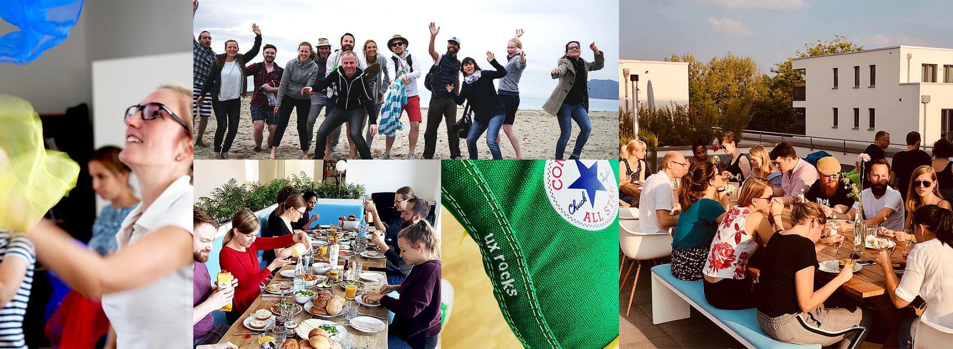Collage aus Bildern mit Menschen, die am Strand die Zeit genießen und mit Tüchern jonglieren. Außerdem ein Schuh, auf dem 'ux rocks' eingestickt ist.
