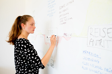 Young woman writing on a whiteboard