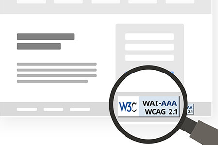 WCAG check badge on a stylized website.