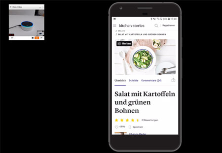 Black space with a smartphone on it showing a cooking app and a voice assistant.