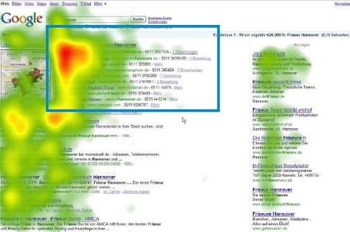Blickverlauf Google Ergebnisseite jetzt