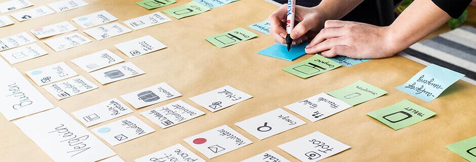 Auf einem Tisch liegen verschiedene Karten, die in zeitlicher Reihenfolge sortiert sind. Der Ausschnitt des Prozesses zeigt zwei Phasen, Vergleichen und Buchen. Eine Person schreibt weitere Begriffe auf Post-Its.