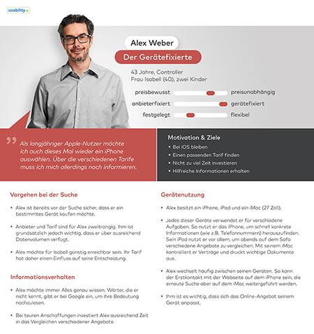 Persona des Controllers Alex Weber inklusive seines Vorgehens bei der Suche nach einem neuen Smartphone, seinem Informationsverhalten und seiner Gerätenutzung.