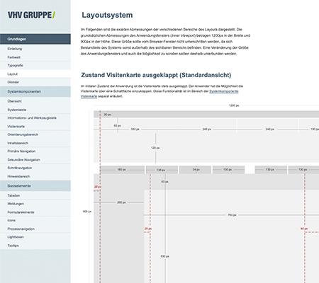 Beispiel aus einem Layoutsystem der VHV Gruppe für den Zustand einer ausgeklappten Visitenkarte.