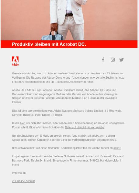 Ein langer Fließtext aus dem Adobe Newsletter
