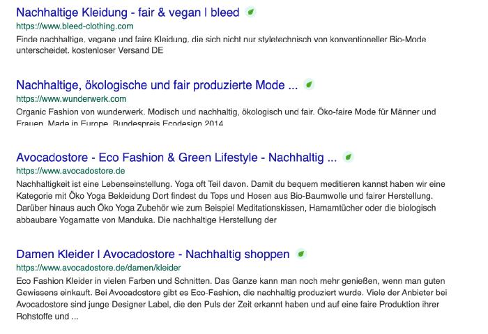 Suchergebnisse auf ecosia.org