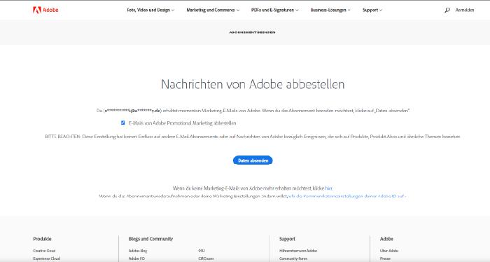 """Screenshot der Adobe-Website """"Nachrichten von Adobe abbestellen"""""""