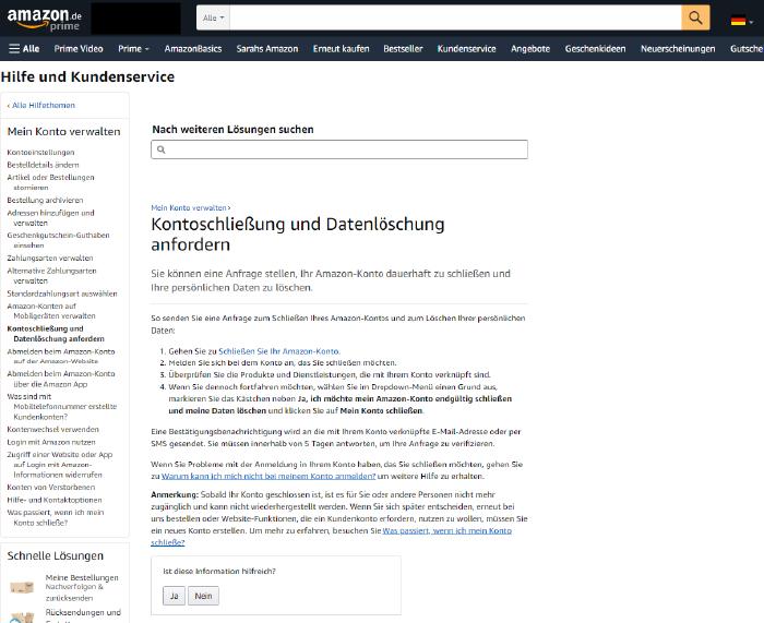 FAQ-Seite von Amazon zur Kontoschließung