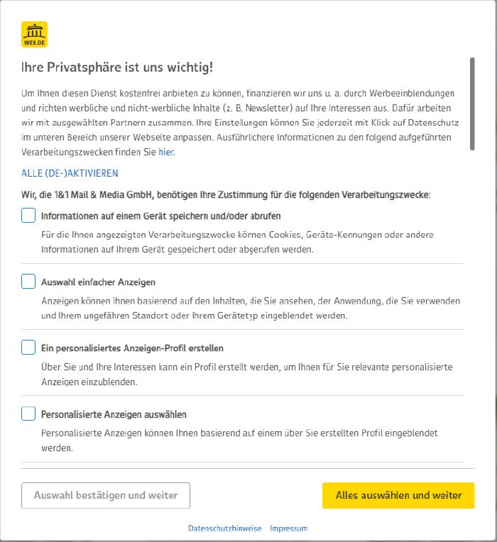 Der Cookie-Layer von web.de mit mehreren Auswahlmöglichkeiten