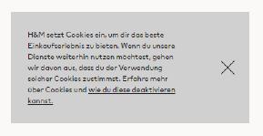 H&M Cookie-Layer ohne Möglichkeit zur Ablehnung