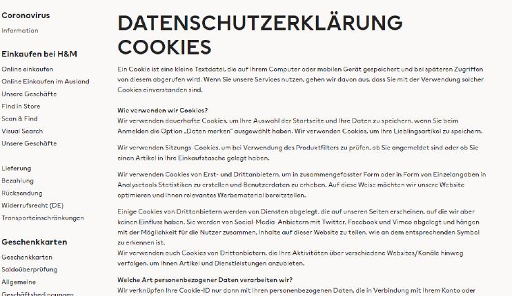 Datenschutzerklärung zu Cookies von H&M, ohne Interaktionsmöglichkeit