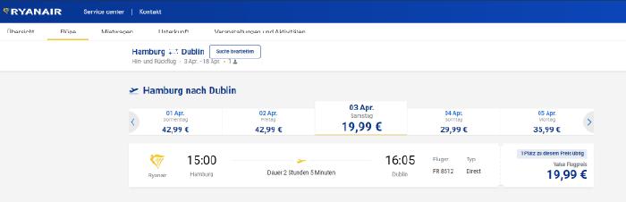 Suchergebnis bei Ryanair