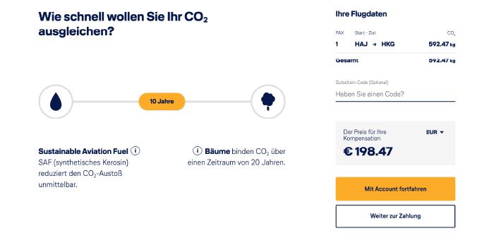 CO2-Ausgleich bei Lufthansa als Slider, der festlegt, in wie vielen Jahren das CO2 ausgeglichen sein soll